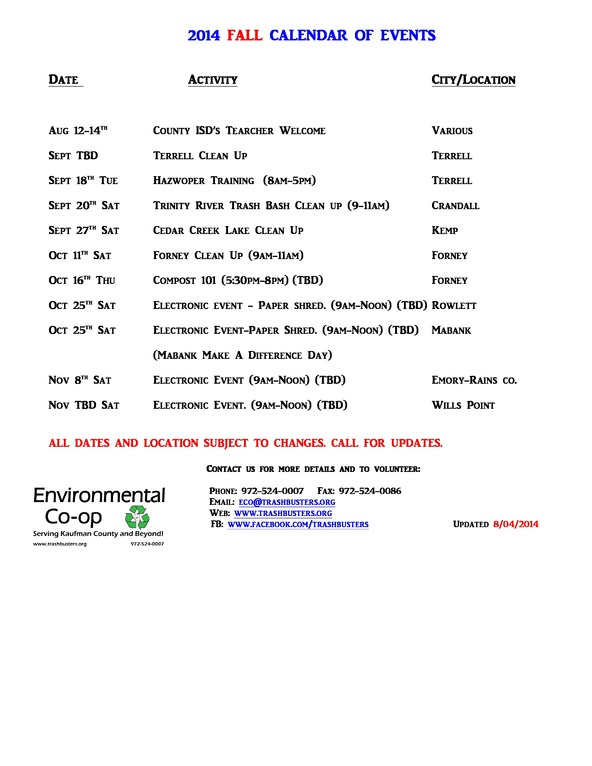 2014 CALENDAR OF EVENTS - FALL-8-4