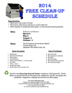 2014 FREE CLEANUP SCHEDULE - Terrell-page-0